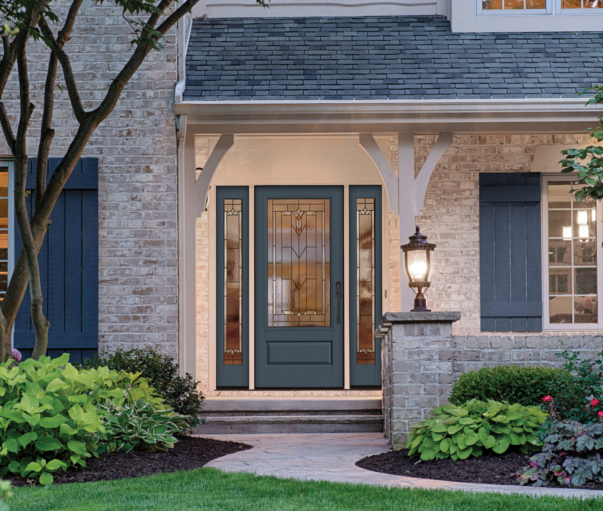 Therma-Tru entry door system with craftsman style glass panel
